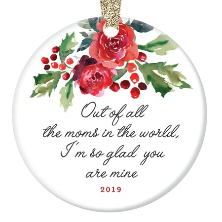Christmas Ornament Gift for Special Mother Beautiful Holly Berries Ceramic Tree Decoration Best Mom Mommy Madre Mama Holiday Season Present 3
