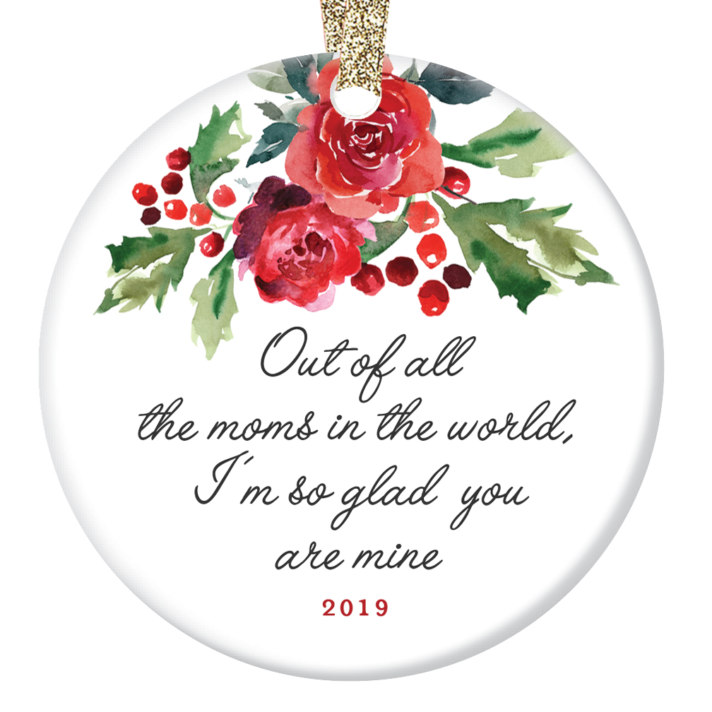 "Christmas Ornament Gift for Special Mother Beautiful Holly Berries Ceramic Tree Decoration Best Mom Mommy Madre Mama Holiday Season Present 3"" Flat Porcelain with Gold Ribbon & Free Box 