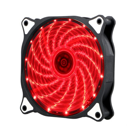 2-pack 120mm RED LED Computer PC Case Cooling Fan Quiet Sleeve Bearing Vetroo (Slim 120mm Fan Blue)
