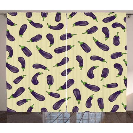 Eggplant Curtains 2 Panels Set, Eggplants and Pale Yellow Background Fresh Delicious Meals Lunch Dinner, Window Drapes for Living Room Bedroom, 108W X 84L Inches, Pale Yellow Purple, by Ambesonne ()