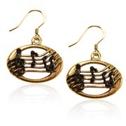 Whimsical Gifts 998G-ER Disc With Musical Notes Charm Earrings In Gold