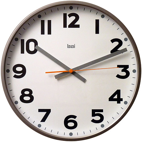 "Bai 16"" Jumbo Wall Clock, Madison Gunmetal"