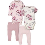 Modern Moments by Gerber Organic Baby Girl Onesies Bodysuits and Pants Set, 4-Piece