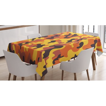 Camo Tablecloth, Lively Colors Retro Style Camouflage Defense Hidden Soldier Modern Artsy, Rectangular Table Cover for Dining Room Kitchen, 52 X 70 Inches, Yellow Orange Dried Rose, by Ambesonne