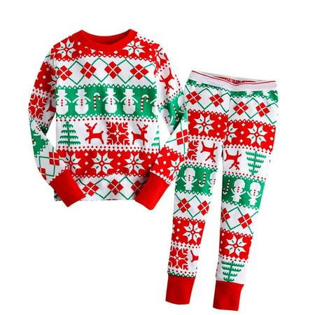 Boys Christmas Pj (Xmas Baby Kids Girls Boys Long Sleeve Nightwear Pajamas Set Sleepwear)