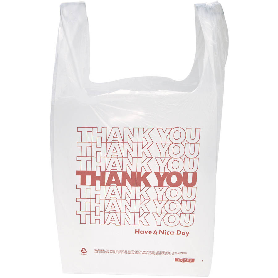 """Inteplast Group Polyethylene """"Thank You"""" Handled T-Shirt Bags, White, 900 count"""
