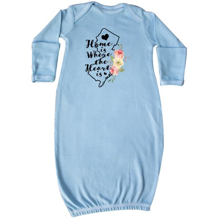 New Jersey Home is Where the Heart is with Watercolor Floral Newborn Layette