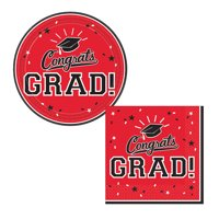 Party City Congrats Grad Graduation Dessert Supplies for 18 Guests, Small Paper Plates and Napkins for Easy Cleanup