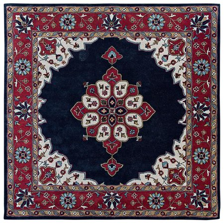 Due Process Stable Trading Tufted Kashan Open Field Navy & Red Square Area Rug, 6 x 6 ft. (Open Field Wool)
