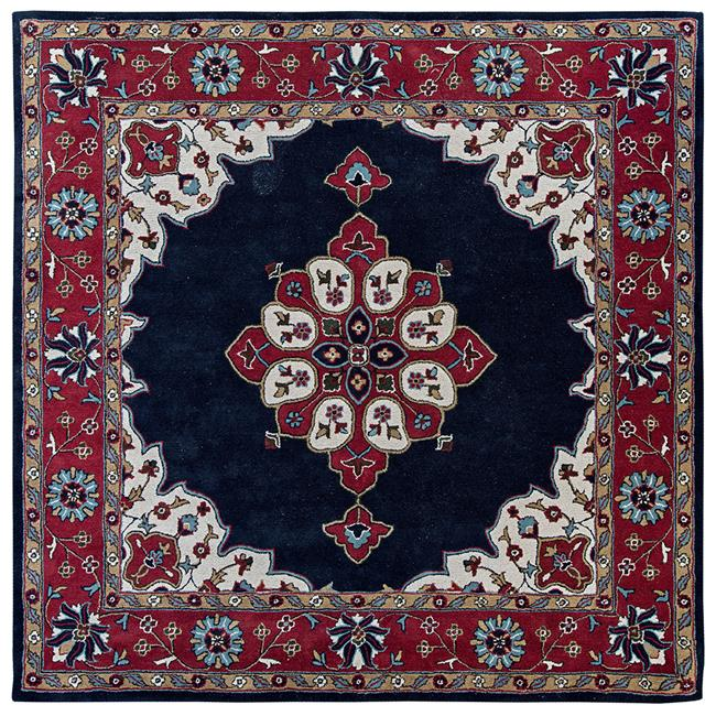 Due Process Stable Trading Tufted Kashan Open Field Navy & Red Square Area Rug, 6 x 6 ft.