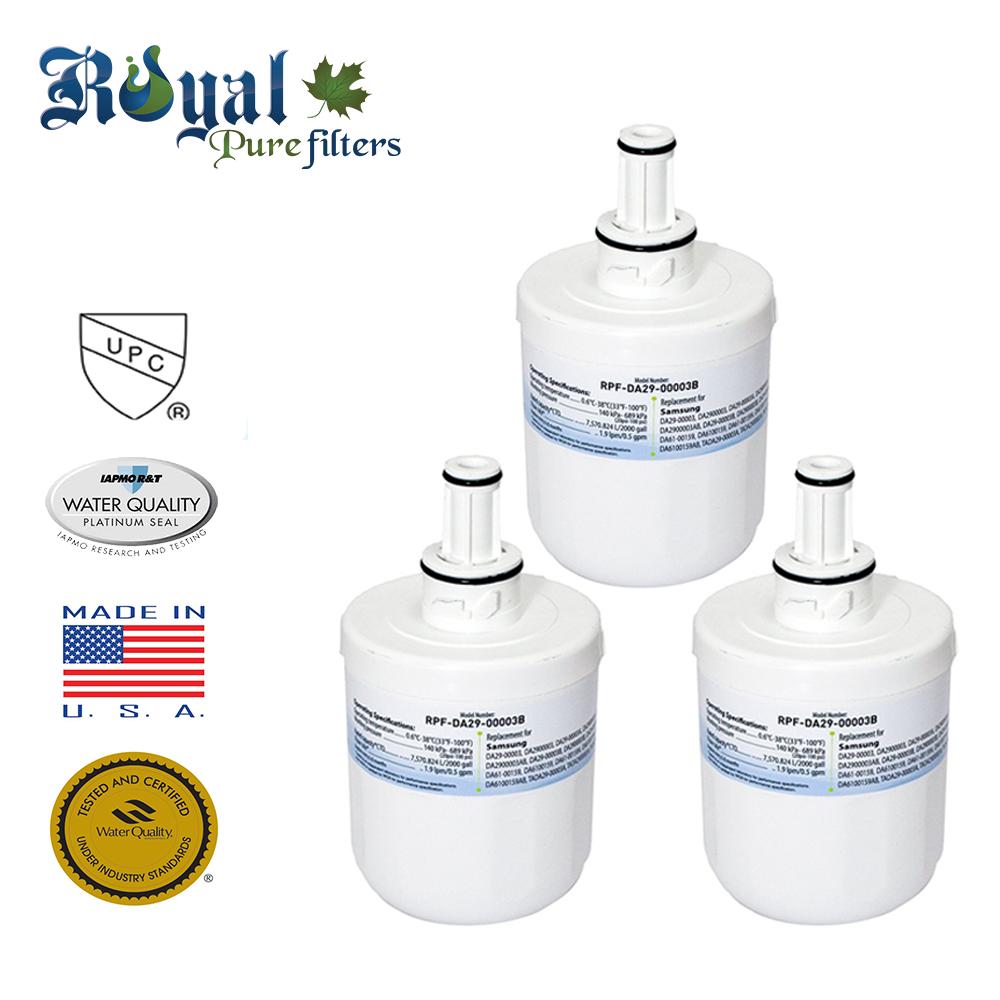 [3-Pack] Royal Pure Filters RPF-DA29-00003B Replacement Water Filter For Samsung DA29-00002A, DA29-00003B, DA29-00003A , DA29-00003A-B, DA29-00003F, DA2900003G, DA29-00003G, HAF-CIN, HAFEX