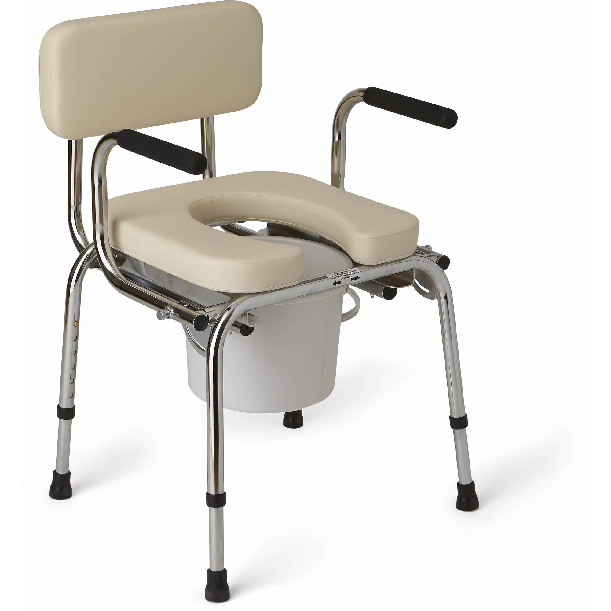 Medline Drop-Arm Padded Commode, 350 lb Weight Capacity