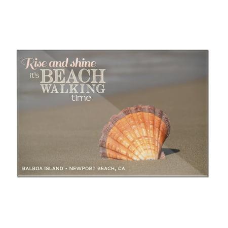 Balboa Island - Newport Beach, California - Rise & Shine - Seashell in Sand - Lantern Press Photography (12x8 Acrylic Wall Art Gallery Quality) (Rise Lantern City)