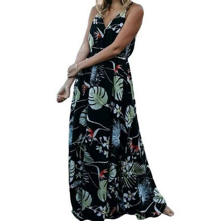e30cb0dd7ce Hirigin - Women s Summer Dress Boho Floral Casual Long Maxi Evening Party  Cocktail Beach Dress Sundress Black XL - Walmart.com