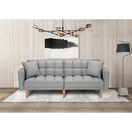 Kepooman Modern Futon Sofa Bed With 2 Pillows for Small Spaces Living Room Bedroom, Gray