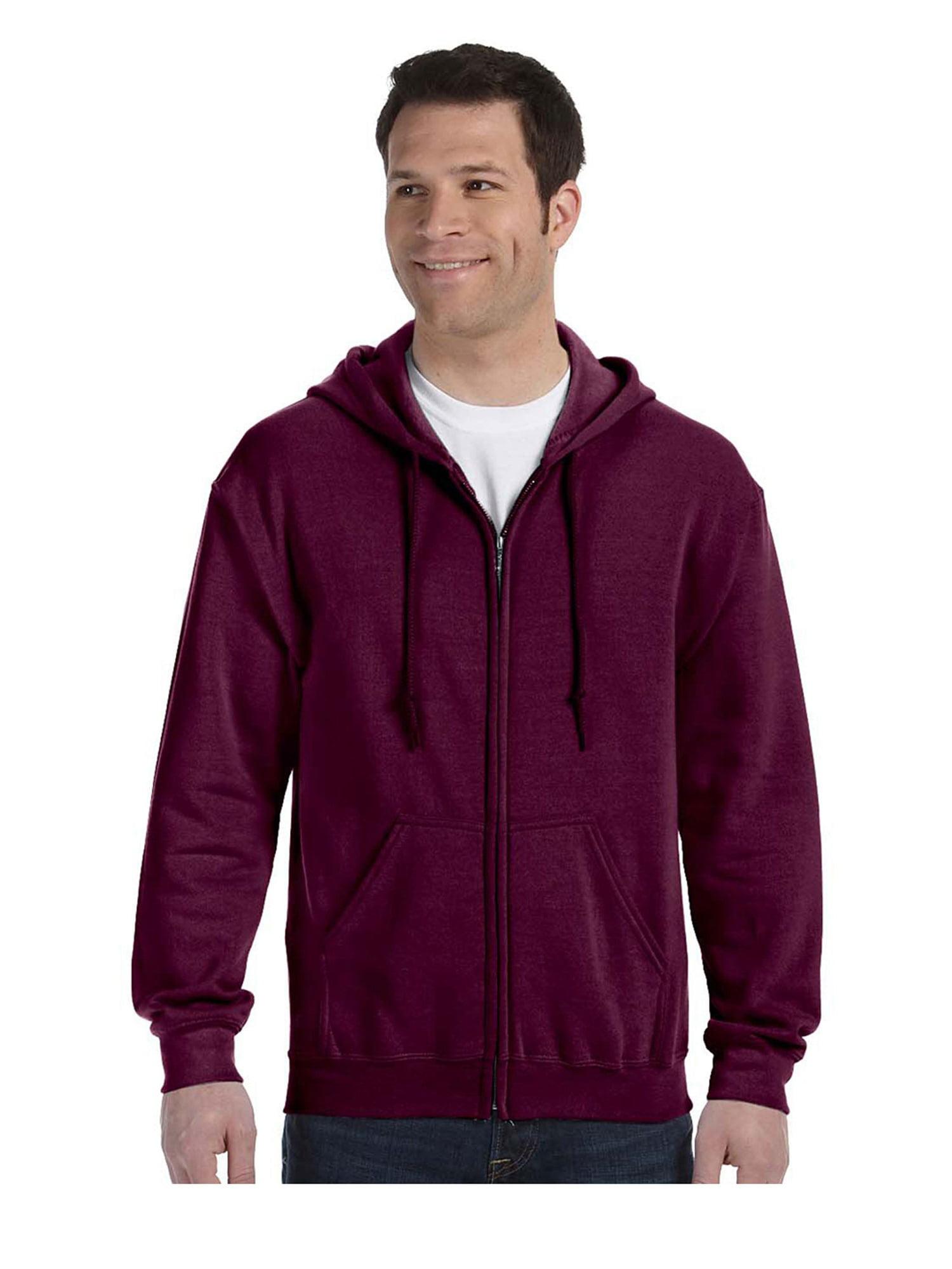 Gildan Men's Satin Label 1x1 Rib Zipper Pouch Pocket Hoodie, Style G18600