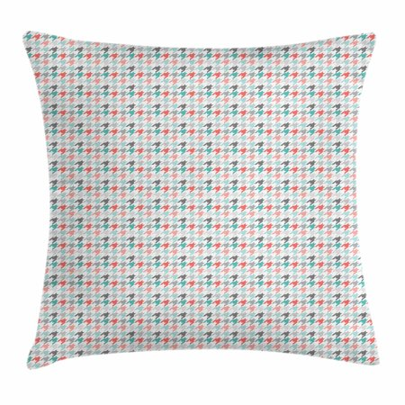 Abstract Throw Pillow Cushion Cover, Classic Hounstooth Motifs Old Fashioned Timeless Illustration, Decorative Square Accent Pillow Case, 16 X 16 Inches, Mint Green Dark Coral Pale Pink, by Ambesonne Classic 16' Single Light