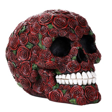 Decorative Ornate Red Roses Flower Skull Figurine Halloween Decor Collectible 4.75 Inches Tall