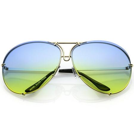 f802e38b8b sunglass.la - Oversize Aviator Sunglasses Slim Metal Arms Color Tinted  Gradient Lens 68mm (Gold   Blue Yellow) - Walmart.com