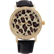 Rocawear Watch RL0271G1-705 Gold/Leopard Dial Leather Strap Quartz Movement