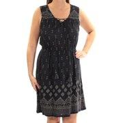 LUCKY BRAND Womens Black Beaded Printed Sleeveless V Neck Above The Knee Sheath Dress  Size: M
