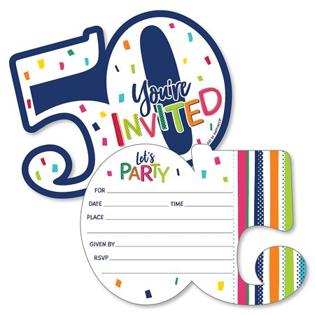 50th Birthday - Cheerful Happy Birthday - Shaped Fill-In Invitations - Colorful Fiftieth Birthday Party Invitation Cards with Envelopes - Set of 12 (50th Birthday Invitations)