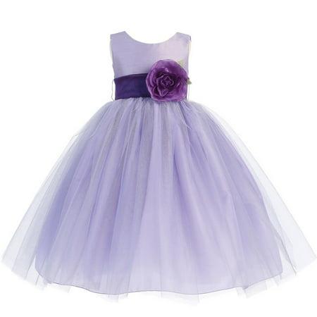 Flower Girl Dress Purple (Little Girls Lilac Purple Sash Poly Silk Tulle Flower Girl Dress)