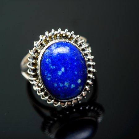 Lapis Lazuli Ring Size 7.25 (925 Sterling Silver)  - Handmade Boho Vintage Jewelry RING951326 - Lapis Vintage Ring