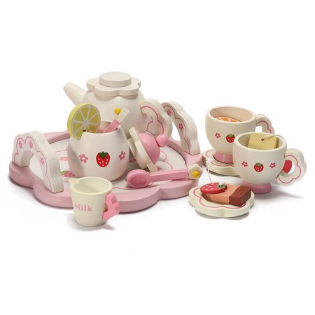 Wooden Kids Tea Set Role Play Kitchen Toys Pretend Cups Teapot Tray Bowl Gifts