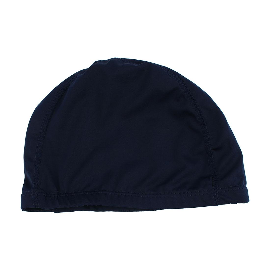 Unique Bargains Dome Shaped Polyester Swimming Cap Hat Navy Blue for Man Woman by Unique-Bargains