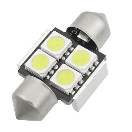 Unique Bargains 31mm 4  5050 SMD White Festoon Dome Door Bulb License Plate Lamps Heat Sink