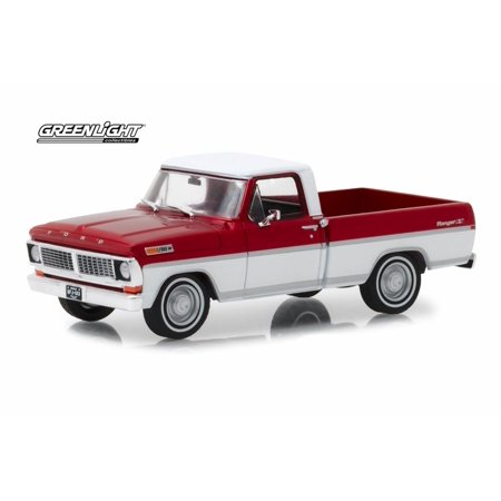 99 00 Ford Ranger Truck - 1970 Ford F-100 Ranger XLT Pickup Truck, Red and White - Greenlight 86318 - 1/43 scale Diecast Model Toy Car