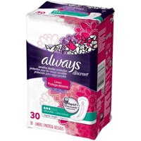 Always Discreet Ultra Thin Incontinence Liners, Regular Length 30 ea (Pack of 3)