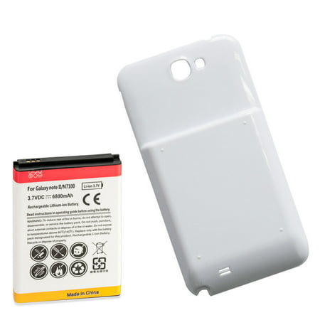 6800mAh Extended Battery + White Door for Samsung Galaxy Note 2 i317 N7100 T889