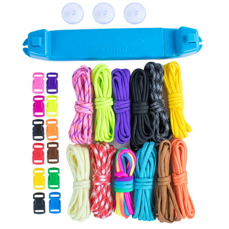 Paracord Parachute Cord Jig Bracelet Loom - Plastic Wristband Maker Paracord Braiding Weaving Tool - DIY Craft Kit 12 Rainbow Color Cord & Buckles - Suctions to Table](Paracord Bracelet Kit)