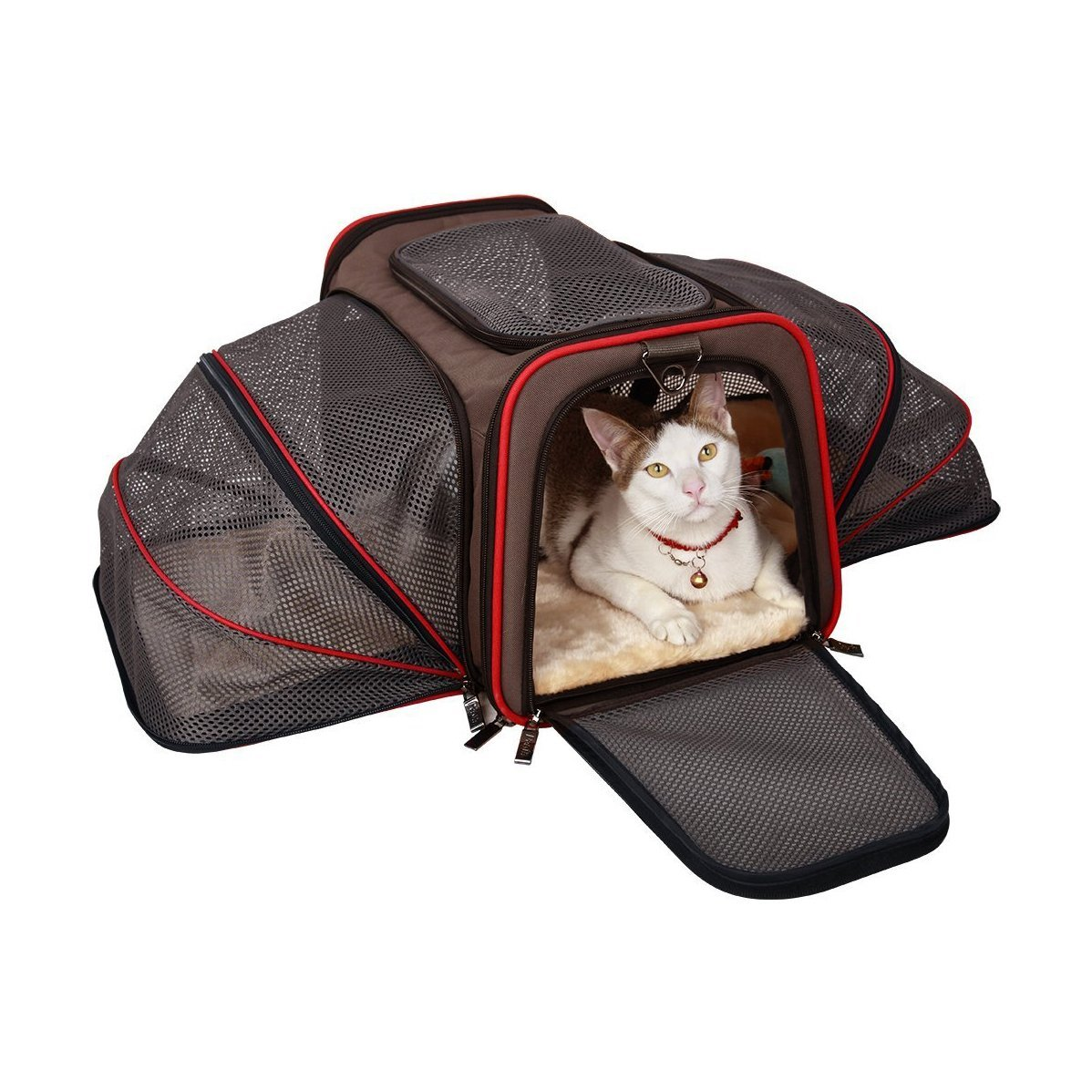Aleko Heavy Duty Expandable Pet Carrier for Travel - Small - Brown