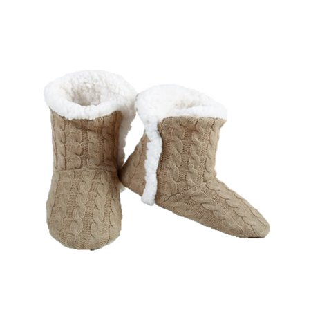 Women's Cable Knit Slippers House Booties Socks Soft Sherpa Lining Rubber Soles, Tan S/M Cable Knit Slipper Boots