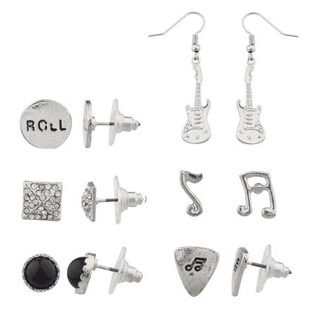 Lux Accessories Silver tone Rock N Roll Earring Set (6Pc)