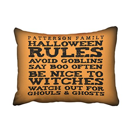 WinHome Personalized Halloween Rules Decor Pillow Covers Cushion Cover Case 20X30 Inches Pillowcases Two Side