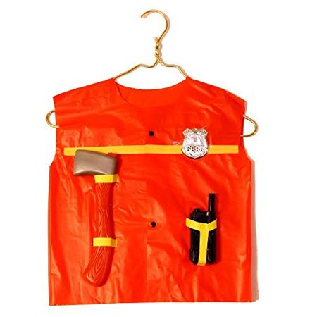 dazzling toys Fire Chief Role Play Costume Set - Includes Some Pretend Fireman Tools-fireman's Axe, Handheld Radio. Contains Plastic Holders to Hold Tools on Vest.