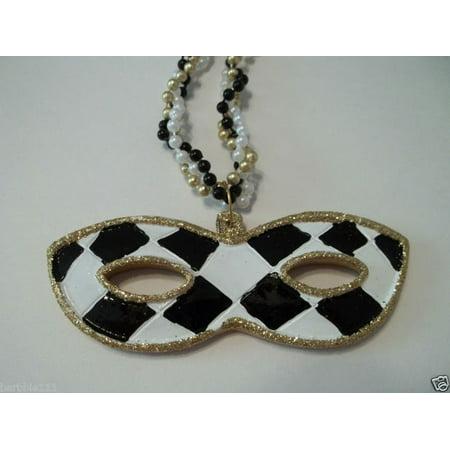 Black White Check Gold Mask Pendant Mardi Gras Bead New Party - Mardi Gras Mask Beads