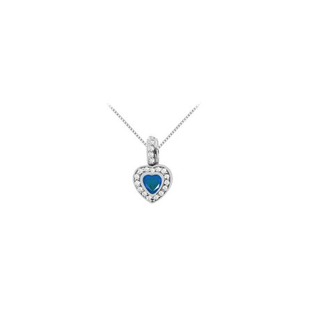 Heart Shape Created Sapphire with Round Cubic Zirconia in 14K White Gold Pendant 1.50 Carat TGW - image 2 de 2