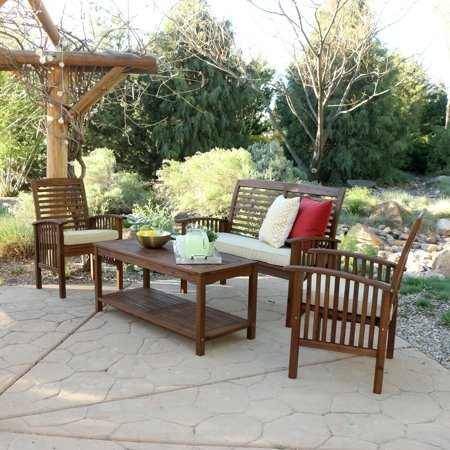 we furniture 4 piece acacia wood patio conversation set