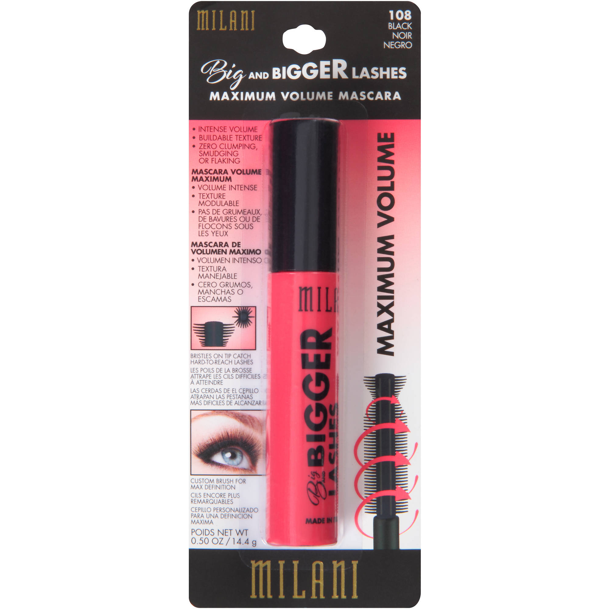 Milani Big and Bigger Lashes Maximum Volume Mascara, 108 Black, 0.50 oz