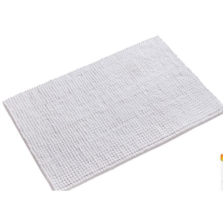 Tayyakoushi Non Slip Absorbent Bath Rug Bath Mat Fluffy Microfiber Bath Carpet Mat Bathroom Mat White Shower Rug 20 x 32 inches ()