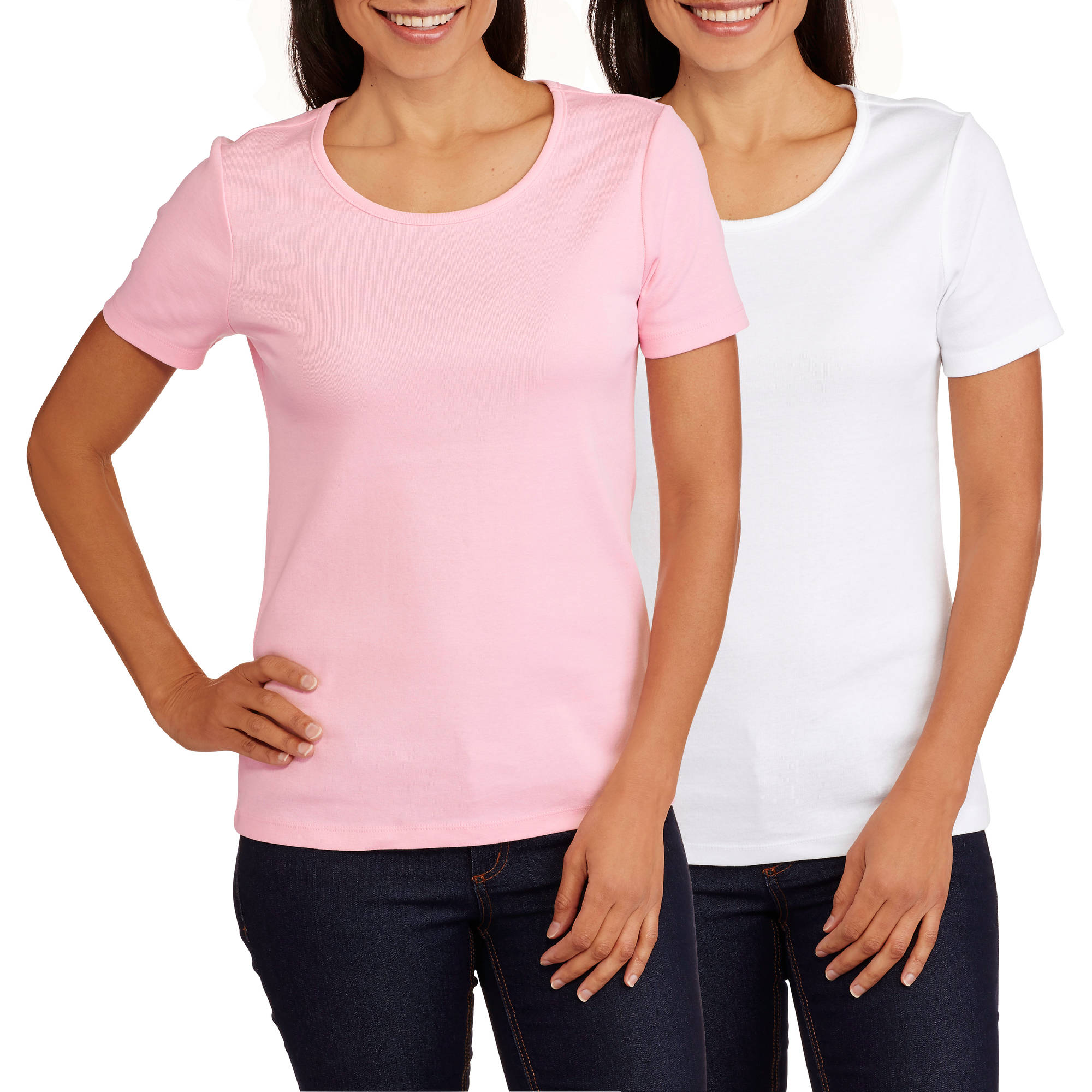 White Stag Women's Short Sleeve Scoop Neck T-Shirt, 2 Pack Value Bundle