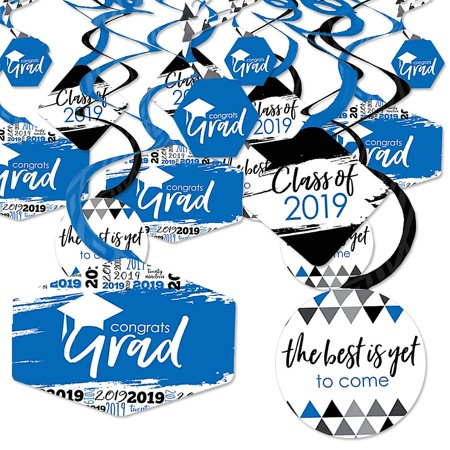 Blue Grad - Best is Yet to Come - 2019 Royal Blue Graduation Party Hanging Decor - Party Decoration Swirls - Set of