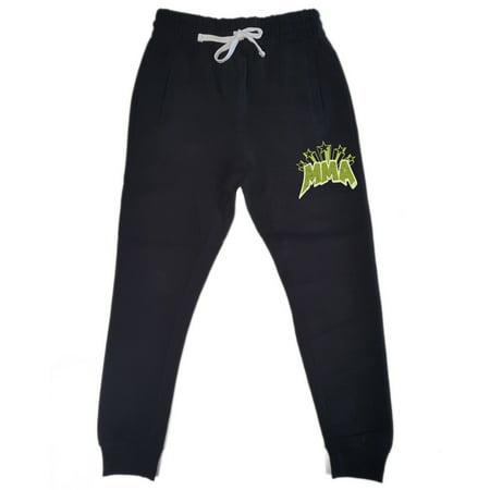 Men's Comic MMA KT T31 Black Fleece Gym Jogger Sweatpants Large Black (Vs Gym Pants)