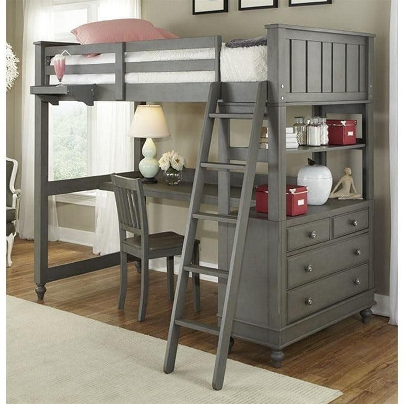 Rosebery Kids Twin Loft Bed with Desk in Stone