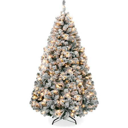 Best Choice Products 6ft Pre-Lit Holiday Christmas Pine Tree w/ Snow Flocked Branches, 250 Warm White Lights